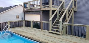 pool deck contractor multi level two story deck residential lexington kentucky top quality deck builder